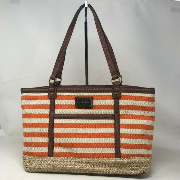 Dana Buchman Womens Orange White Tote Handbag
